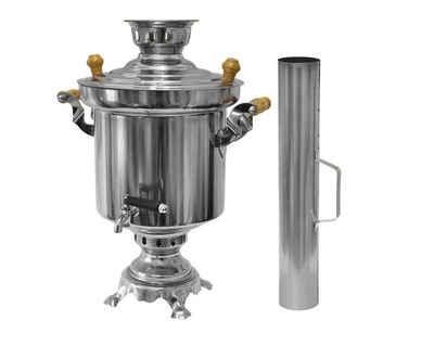 LeGro Profi Samowar Edelstahl Holzkohle Samowar 5 Liter mit Schornstein Wasserkocher Teekocher Grill + Optional mit Teekanne