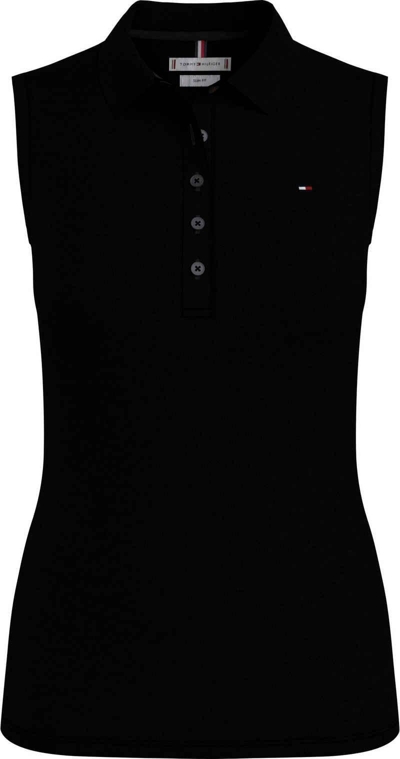 Tommy Hilfiger Poloshirt »Slim Polo No Sleeve« mit Tommy Hilfiger Logo-Falg auf der Brust