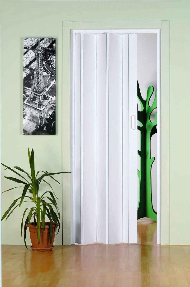 Falttür »Monica«, BxH: 83x204 cm, Weiß ohne Fenster