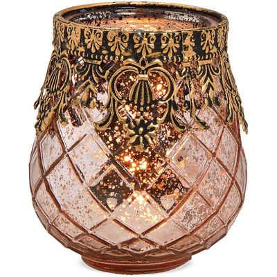 matches21 HOME & HOBBY Kerzenständer »Windlicht orientalisch antiklook Glas & Metall pink Ø 9x10 cm«