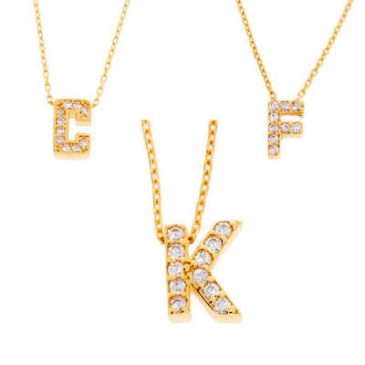 Stella-Jewellery Kette mit Anhänger »585er Gold Halskette Zirkonia Buchstaben Anhänger« (inkl. Etui), Buchstaben Anhänger mit Kette