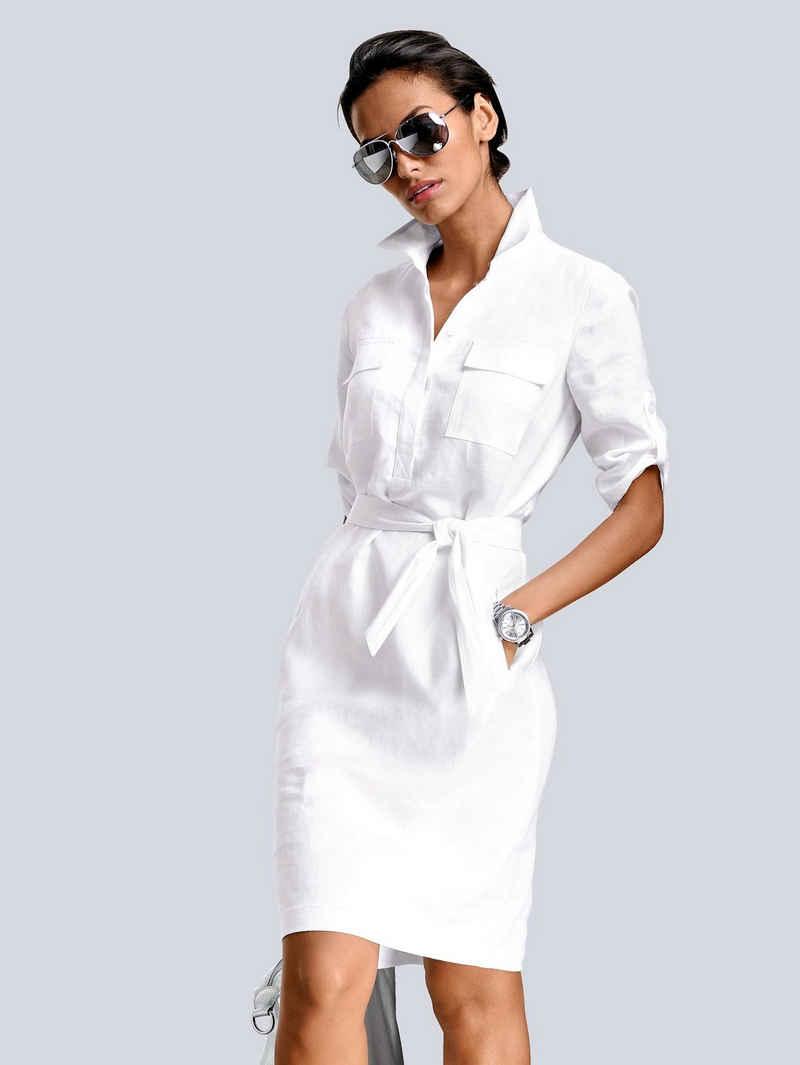 Alba Moda Leinenkleid in modischer Schnittführung