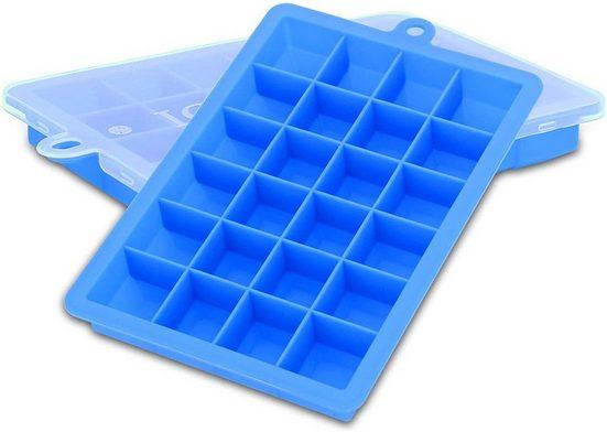 Intirilife Eiswürfelform »2x Eiswürfelformen 2er Set à 24 Fächer«, Flexibler Eiswürfelbehälter Verschließbar für Eis, Babynahrung und mehr