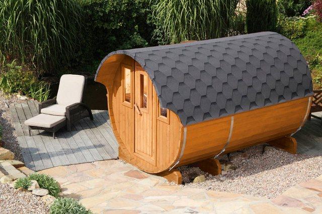 Saunen und Zubehör - WOLFF FINNHAUS Fasssauna »330«, 205 335 210 cm, schwarze Schindeln, ohne Ofen  - Onlineshop OTTO