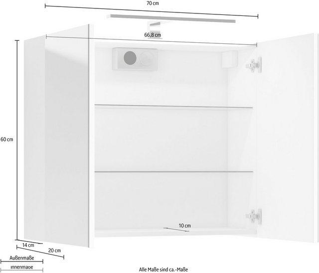 Spiegel - Homexperts Spiegelschrank »Salsa« Breite 70 cm, mit LED Beleuchtung Schalter Steckdosenbox  - Onlineshop OTTO