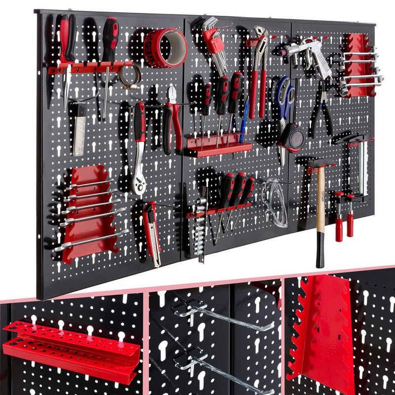Arebos Lochwand »Werkzeugwand dreiteilig, 17 teiliges Hakenset, 120 x 60 x 2 cm«, 3 Stk., mit 17 Haken, Werkzeugwand bestehend aus 3 Lochplatten mit jeweils 40 x 58 cm, 17 teiliges Hakensortiment für Schraubendreher, Bohrer, Zangen oder Schraubenschlüssel inklusive, 30 mm Schlüssellochung, Hohe Stabilität dank einer Materialstärke von 1,5 mm, Montagematerial ist enthalten