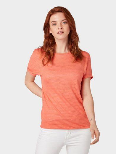TOM TAILOR Denim Kurzarmshirt »T-Shirt mit elastischem Saum«