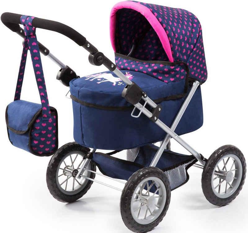 Bayer Puppenwagen »Trendy, blau/Einhorn«, mit Wickeltasche