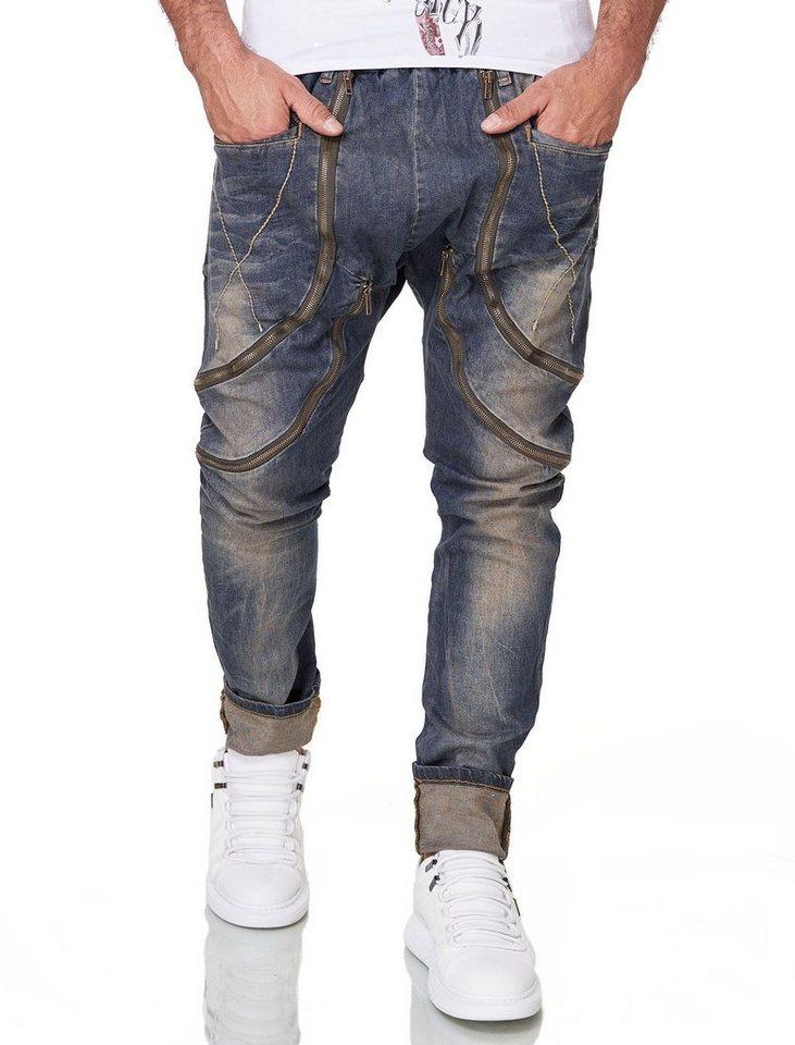 kingz -  Bequeme Jeans mit trendige Zierreißverschlüssen