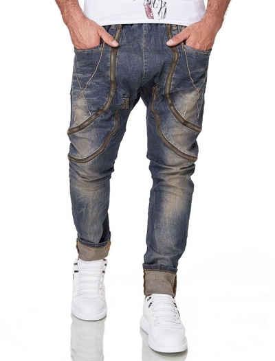 KINGZ Bequeme Jeans mit trendige Zierreißverschlüssen