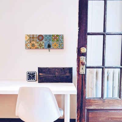 Artland Schlüsselbrett »Gemusterte Keramikfliesen«, aus Holz mit 4 Schlüsselhaken – Schlüsselboard, Schlüsselbretter, Schlüsselhalter, Schlüsselaufhänger für den Flur – Stil: Modern
