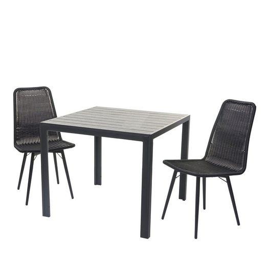 MCW Sitzgruppe »MCW-F90-G«, (3er Set), Garten, Belastbarkeit 120kg, Outdoor, pflegeleicht