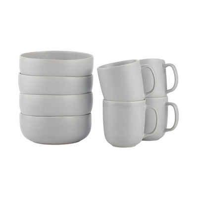 BUTLERS Single Geschirr-Set »CASA NOVA Frühstücksset 8-tlg.«, 8-teiliges Frühstücksset in Grau - aus Steinzeug - bestehend aus 4x Schale und Tasse - Geschirr, Geschirrset