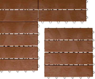UPP Terrassenplatten »Optik Holzdiele«, 30x30 cm, 6-St., Klickfliesen