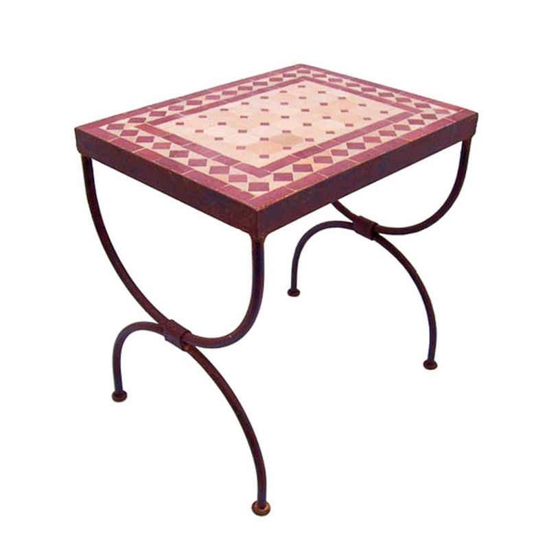 Casa Moro Gartentisch »Mosaikkonsole Raute Bordeaux-Terracotta 45x30x40 cm (BxTxH) rechteckig Echte Handarbeit, Marokkanischer Mosaik-Beistelltisch, Ideal für Balkon Terrasse Wohnzimmer, MT2001-01«
