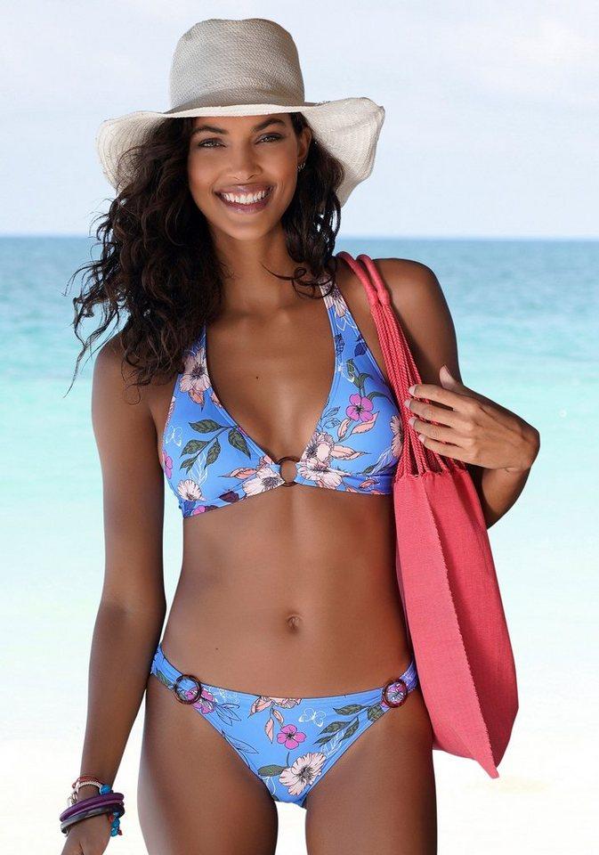 Bademode - s.Oliver Bikini Hose »Maya«, mit Zierringen in Horn Optik › blau  - Onlineshop OTTO