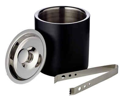 EDZARD Eiseimer Pearl, inkl. Deckel und Zange - Eiswürfelkübel, Flaschenkühler, Champagnerkühler, Weinkühler - außen matt-schwarz, ø 15 cm