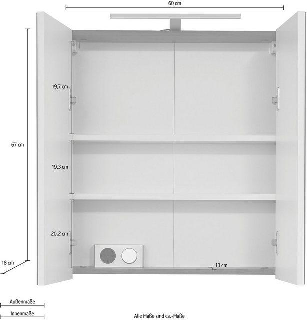 Spiegel - trendteam Spiegelschrank »Skin« Breite 60 cm, wahlweise mit oder ohne LED Beleuchtung  - Onlineshop OTTO