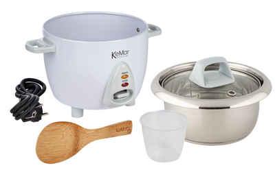 KeMar Kitchenware Reiskocher KRC-100, 300 W, Reiskocher mit Edelstahltopf für 2-3 Personen, 0,6 Liter, 300W, Kompakt, Glasdeckel, Spülmaschinen geeignet, Bambuslöffel, Messbecher, ohne Beschichtung