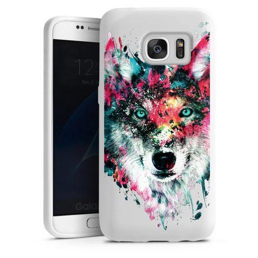 DeinDesign Handyhülle »Wolve ohne Hintergrund« Samsung Galaxy S7, Hülle Riza Peker Wolf bunt