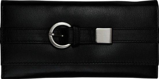 DrachenLeder Geldbörse »OPS701S DrachenLeder Brieftasche« (Portemonnaie), Damen, Jugend Portemonnaie Echtleder, schwarz, Gürtelschnalle
