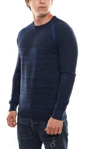 Rusty Neal Rundhalspullover »RUSTY NEAL Sweater Pullover figurbetontes Herren Sweatshirt mit Rundhals Freizeit-Pullover Marine«