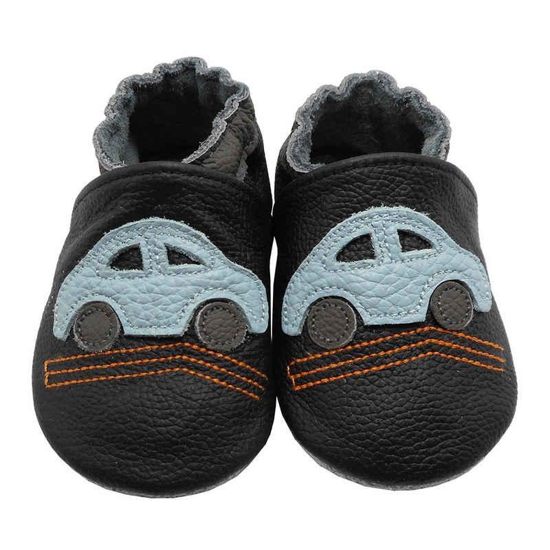 Yalion »Weiche Leder Lauflernschuhe Hausschuhe Lederpuschen Auto Schwarz 100% Leder« Lauflernschuh