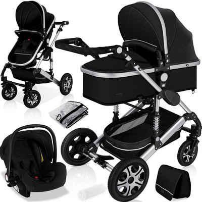 KESSER Kombi-Kinderwagen, Komplettset inclusive Babywanne & Buggy Sportsitz & Auto-Babyschale - Voll-Gummireifen - Wickeltasche / Regenschutz / Kindertisch