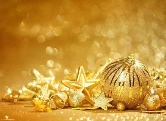 Platzset, »Tischsets I Platzsets - Weihnachten - Weihnachtsdeko - Goldene Kugeln - 12 Stück aus hochwertigem Papier 44 x 32 cm«, Tischsetmacher, (12-St)