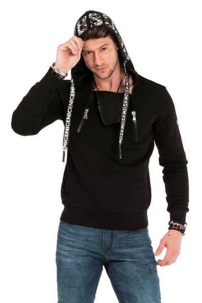 Cipo & Baxx Kapuzensweatshirt mit extravagantem Zipper-Kragen