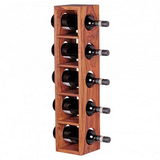 Lomadox Weinregal, Massiv-Holz Sheesham Flaschen-Regal Wandmontage für 5 Flaschen Holzregal modern mit Ablage 70 cm B/H/T ca. 15/70/15cm
