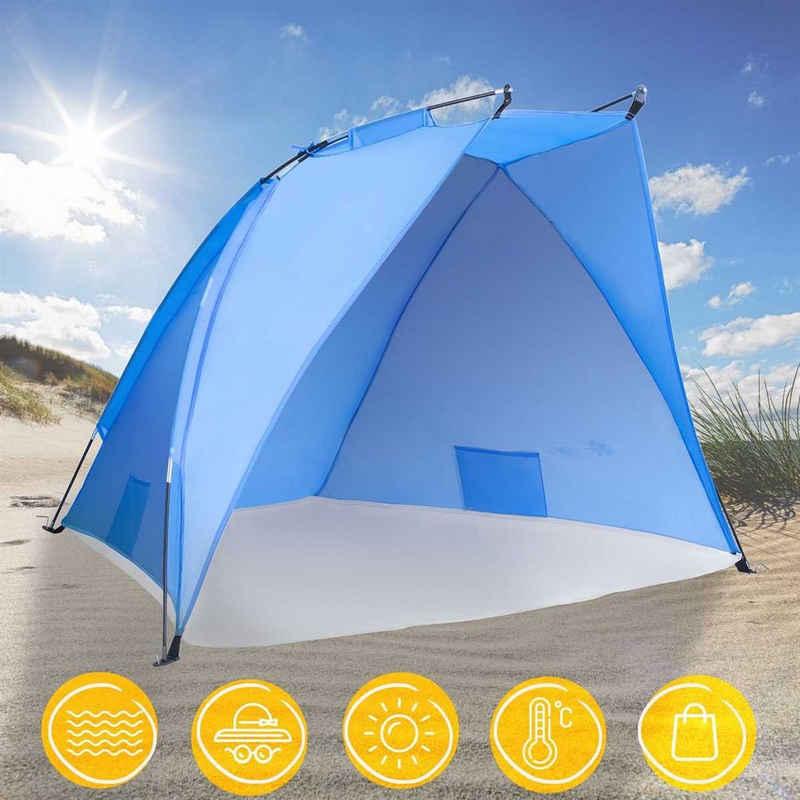 TRESKO Strandmuschel, Strandzelt inkl. Tragetasche, Strandmuschel mit UV Schutz 50+, Kleines Packmaß, Wasserdicht und atmungsaktiv