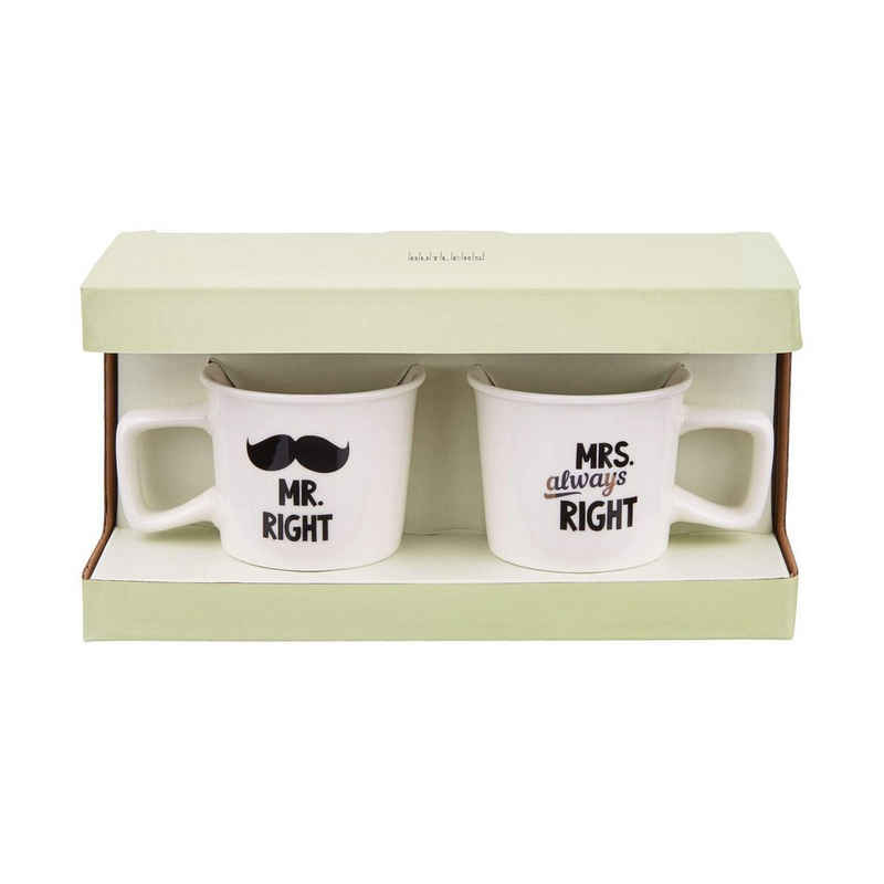 BUTLERS Espressotasse »TWO FOR YOU Espressotassen Mr & Mrs Right 130ml«, Porzellan