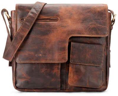 LEABAGS Umhängetasche »Birmingham«, Umhängetasche Schultertasche Laptoptasche aus echtem Leder im Vintage Look