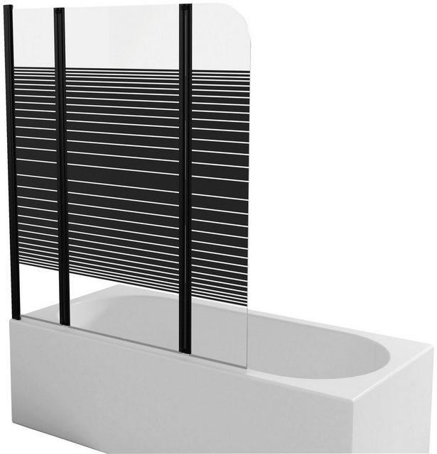 Badewannen und Whirlpools - Marwell Badewannenfaltwand »BLACK LINES«, Einscheibensicherheitsglas, (3 tlg), mit Sichtschutz, Breite 125 cm  - Onlineshop OTTO
