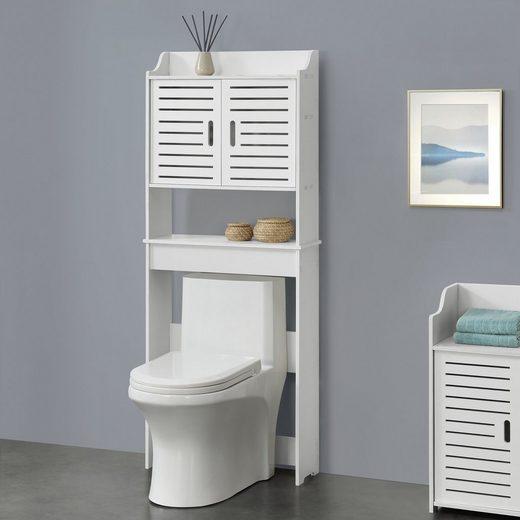 en.casa Schrank »Storfors« Badezimmerschrank Toilettenschrank Überbauschrank 155x62x20cm weiß