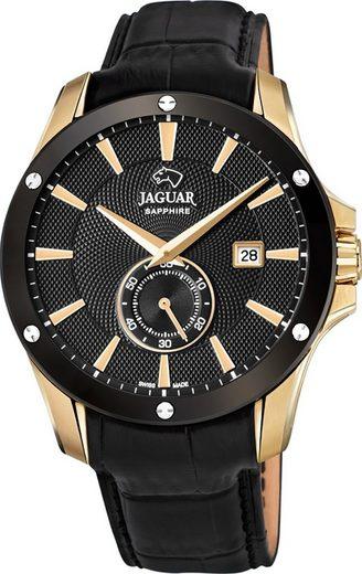 Jaguar Chronograph »UJ881/1 Jaguar Herren Armbanduhr ACM«, (Analoguhr), Herrenuhr rund, groß (ca. 44mm), Edelstahl, Lederarmband, Sport-Style