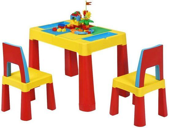 COSTWAY Spieltisch »5 in 1 Kinder Aktivitätstisch mit Stuhl«, (7-tlg)
