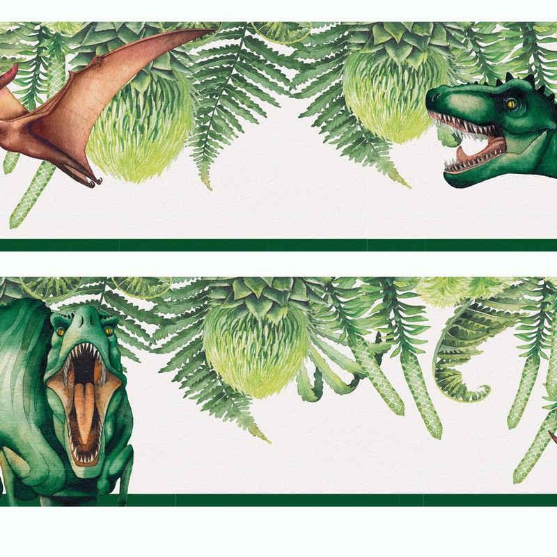 Sunnywall Bordüre »Dinosaurier (Bordüre - 400 cm)«, leicht strukturiert, botanisch, (1 St)