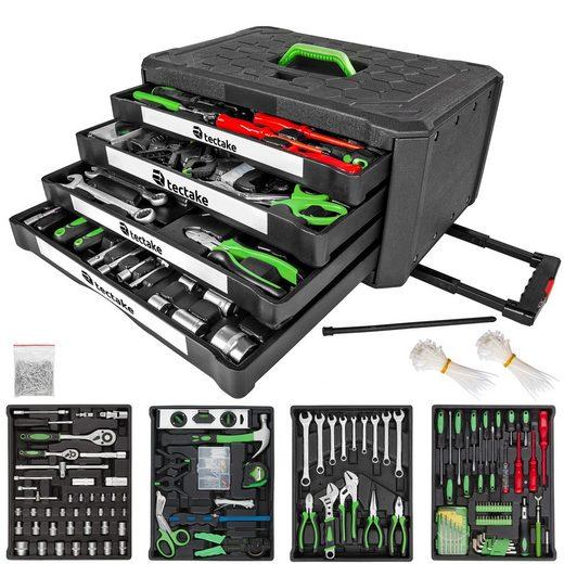 tectake Werkzeugtrolley »Trolley Werkzeugkoffer 899-tlg. mit 4 Schubladen«