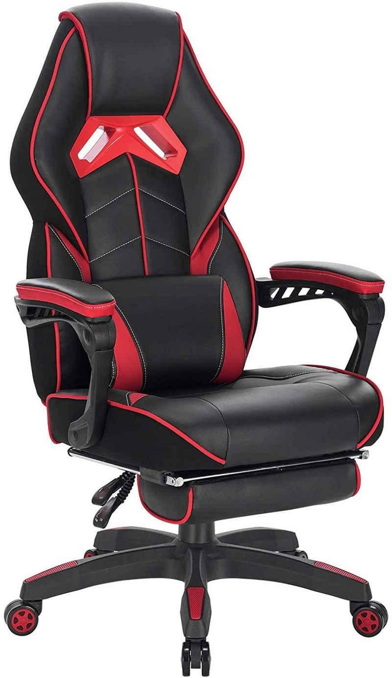 Woltu Gaming-Stuhl »Z-OFC97« (1 Stück), Racing Stuhl Ergonomischer Stuhl Bürostuhl mit Fußstütze und Lendenkissen, höhenverstellbar, ergonomisch, 90-145° Neigungswinkel, Rot