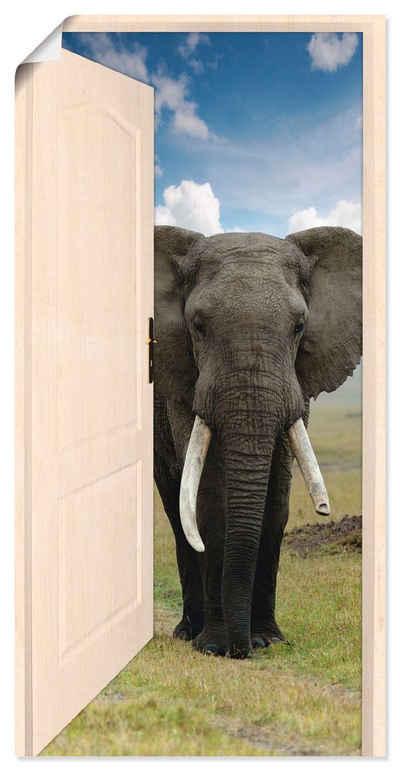 Artland Wandbild »Offene weiße Türe mit Blick auf Elefant«, Wildtiere (1 Stück), in vielen Größen & Produktarten - Alubild / Outdoorbild für den Außenbereich, Leinwandbild, Poster, Wandaufkleber / Wandtattoo auch für Badezimmer geeignet