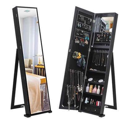 Vaxiuja Ganzkörperspiegel »Schmuckaufbewahrungsschrank,79 Blauer LED-Schmuckschrank,aufrechter Schmuckschrank mit langem Spiegel (Schwarz)«
