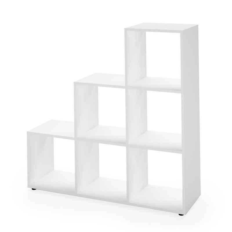 Vicco Stufenregal »Treppenregal 6 Fächer Weiß Raumteiler Bücherregal Treppe Regal«