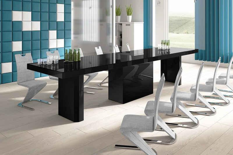 designimpex Konferenztisch »Design Konferenztisch Tisch HE-777 Schwarz Hochglanz XXL ausziehbar 140 bis 332 cm«