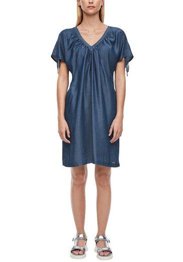 Q/S designed by Sommerkleid mit Raffung und Bindeband auf der Schulter
