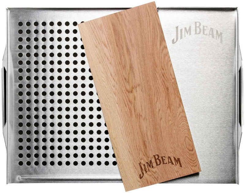 Jim Beam BBQ Grillplatte, Edelstahl, Holz, Grillauflage mit Zedernholz-Platte, ø 29 cm