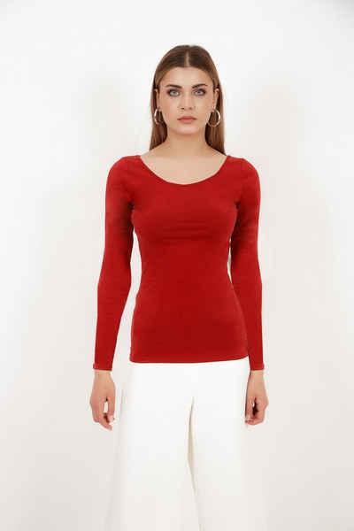 Vivienne Fashion Langarmshirt »Hochwertige Modal Strickbluse «