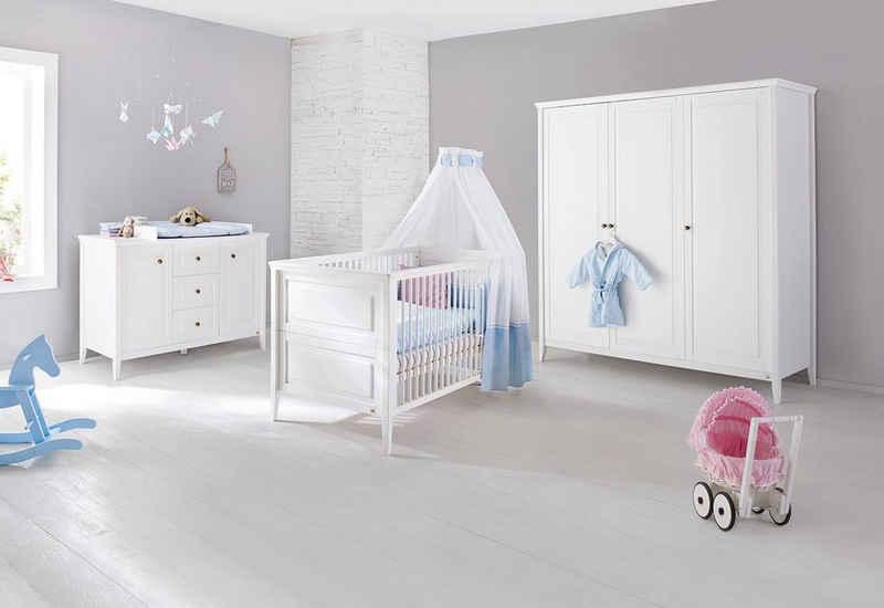 Pinolino® Babyzimmer-Komplettset »Smilla«, (Set, 3-St), extrabreit groß; mit Kinderbett, Schrank und Wickelkommode; Made in Europe