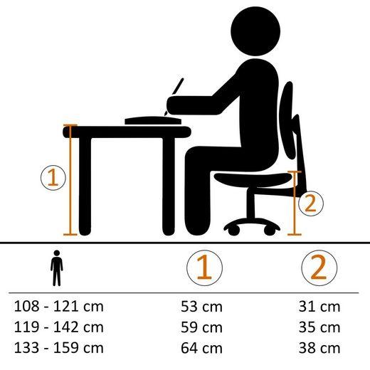 Amstyle Drehstuhl »SPM1.353« Kinderschreibtischstuhl SPEEDY Rot / Grau für Kinder ab 8 mit Lehne & Hartbodenrollen Jugendstuhl
